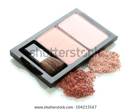 Make-up blusher in box isolated on white - stock photo