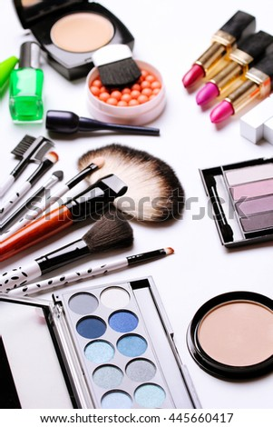 make-up brush, eye shadow, blush at the white background - stock photo