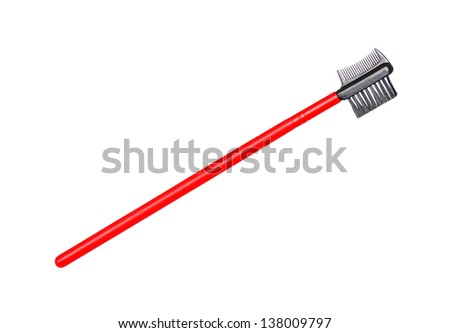 make up brush eyelashes brow comb red isolated on white background - stock photo