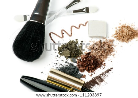 Make up Brushes, Eyeliner, Mineral Eyeshadow and Mascara isolated on white background - stock photo