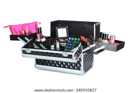 Make up case with cosmetics isolated on a white - stock photo