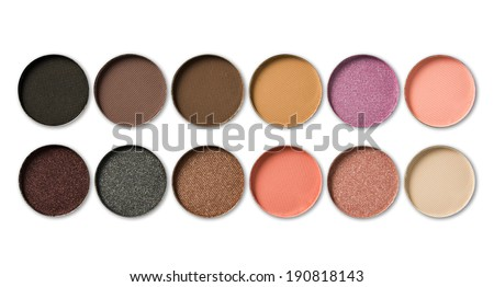 Make-up, colorful eye shadows palette on black background. - stock photo