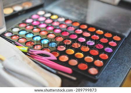 Make-up colorful eyeshadow palettes - stock photo
