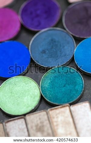 Make-up colorful eyeshadow palettes - stock photo