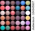 Make-up colorful eyeshadow palettes isolated on black background - stock photo
