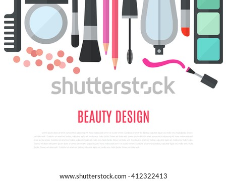 Make up concept flat illustration with cosmetics, makeup table, mirror, make-up brushes, perfume, nail polish and comb are laid out in row. Beauty concept design isolated on white background. - stock photo