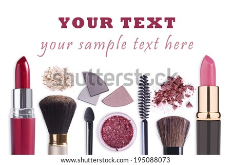Make up cosmetics set background - stock photo