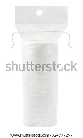 make up cotton pad stack pack isolated on background - stock photo