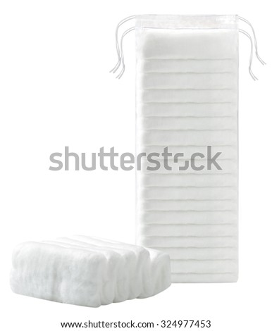 make up cotton stack pack isolated on background - stock photo
