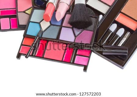 Make up decorative cosmetics  isolated on white background - stock photo