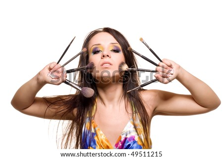 make-up girl on white background - stock photo