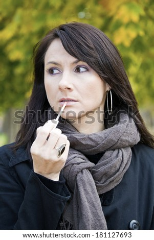 Make up in the park, fall time. - stock photo