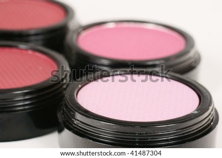 make up jars close up - stock photo