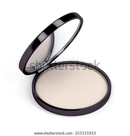 Make-up powder in box on white background - stock photo