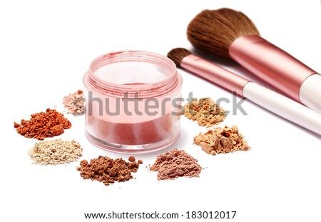 make up powder sweet color and brush on white background  - stock photo