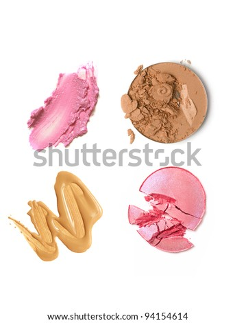 make-up products on white - stock photo