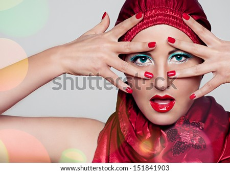 make up red - stock photo