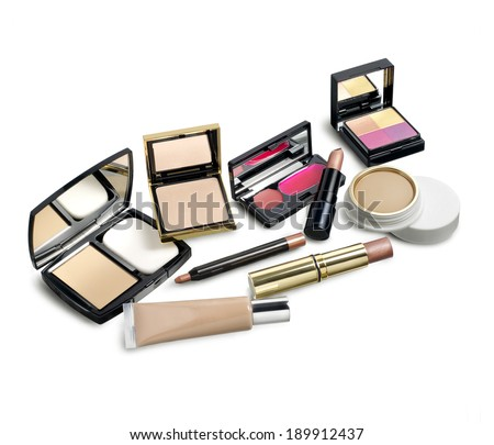 Make up set against white background - stock photo