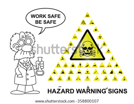 Make your own hazard warning sign with main central sign and forty related hazard warning graphics isolated on white background with work safe be safe message - stock photo
