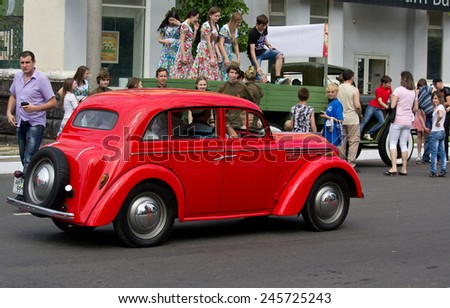 Makeevka, Ukraine - May, 9, 2012: Historic parade in honor of the anniversary of victory over fascism - stock photo