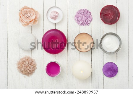 makeup accessories on white wooden  - stock photo