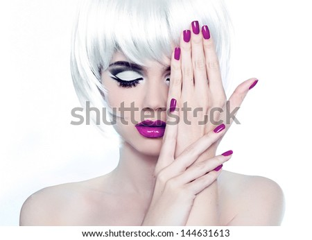 Makeup and Manicured polish nails. Fashion Style Beauty Woman Portrait with White Short Hair. - stock photo