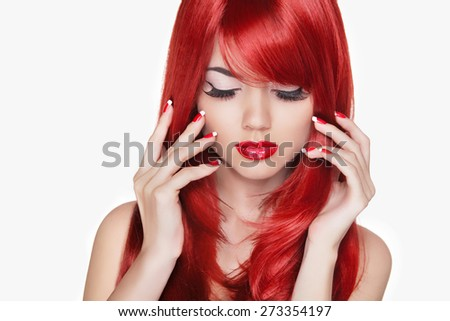 Makeup. Beautiful girl with red long hair. Fashion model isolated on white background. Manicured nails.  - stock photo