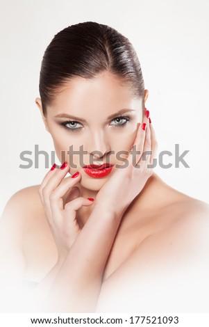 makeup beauty shot - stock photo