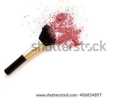 Makeup brush and blusher sample on white background. Woman's Day. March 8. - stock photo