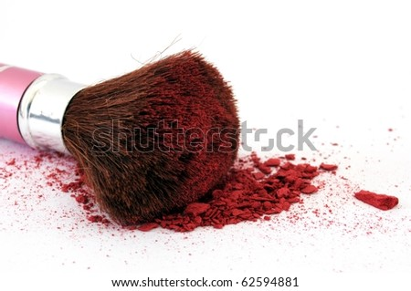makeup brush and cosmetic powder isolated on white background - stock photo