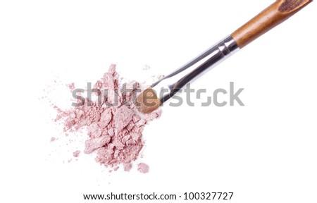 makeup brush and eyeshadow isolated on white - stock photo