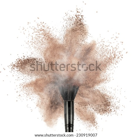makeup brush with powder foundation isolated on white - stock photo