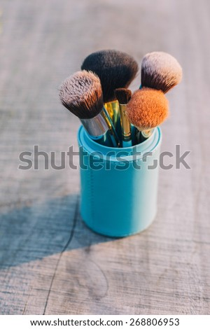 makeup brushes - stock photo