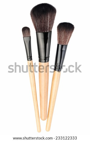 Makeup brushes isolated on a white background - stock photo