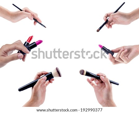 Makeup brushes isolated on white background  - stock photo