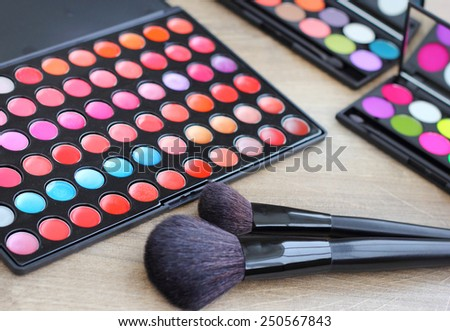 Makeup brushes make-up eye shadows  - stock photo