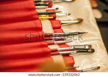 Makeup brushes of different shapes, ���ollection of professional  - stock photo
