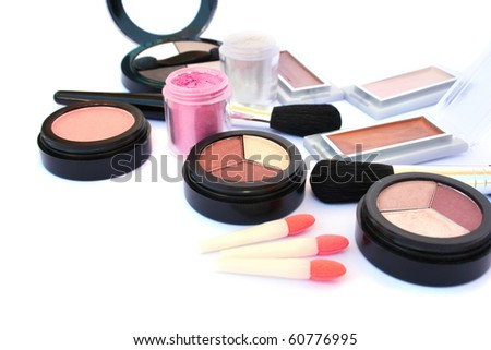 Makeup collection isolated on white background. - stock photo