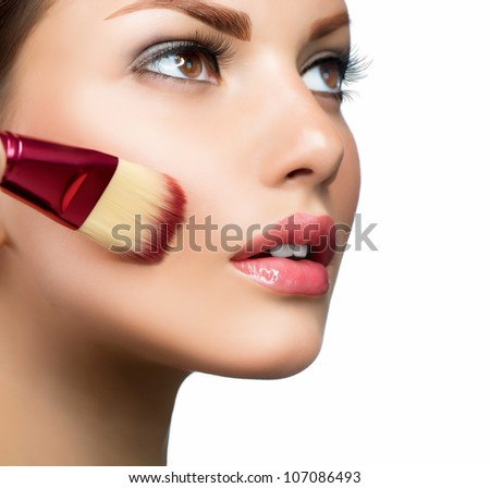 Makeup. Cosmetic. Base for Perfect Make-up.Applying Make-up - stock photo