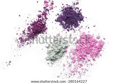 makeup eye shadow powder color isolated on white - stock photo