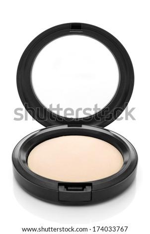 Makeup. Face powder, isolated on white background. - stock photo