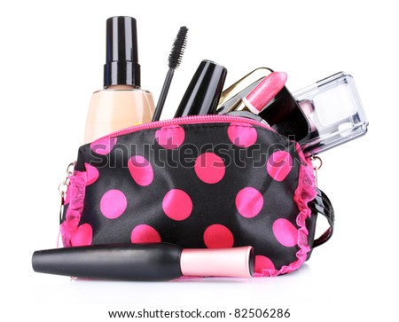 makeup isolated on white - stock photo