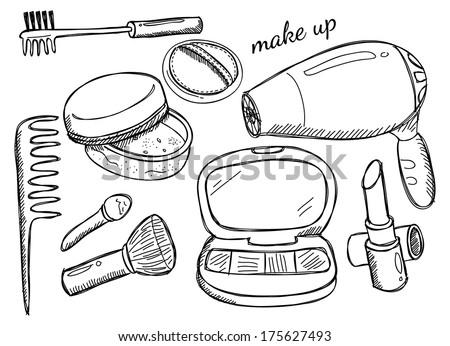 makeup kit - stock photo
