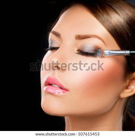 Makeup.Make-up.Eyeshadows. Eye shadow brush - stock photo