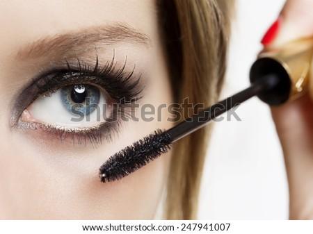 Makeup. Make-up. Eyeshadows. Eye shadow brush - stock photo