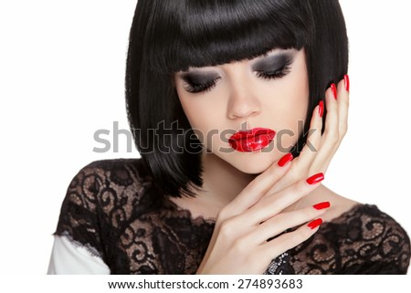 Makeup. Manicured nails. Black bob short hair styling. Brunette young woman portrait isolated on white background. - stock photo