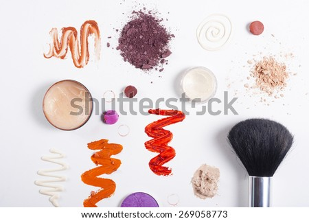 makeup samples on white background with shade, not isolated - stock photo