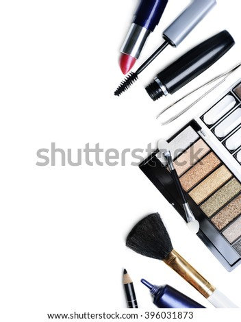 Makeup set isolated over white background - stock photo
