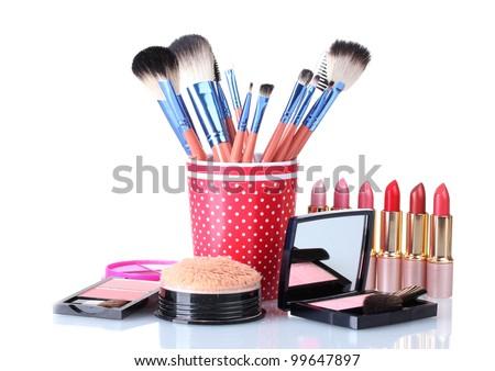 makeup set isolated with brushes isolated on white - stock photo