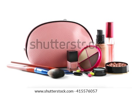 Makeup set with beautician, brushes and cosmetics, isolated on white - stock photo